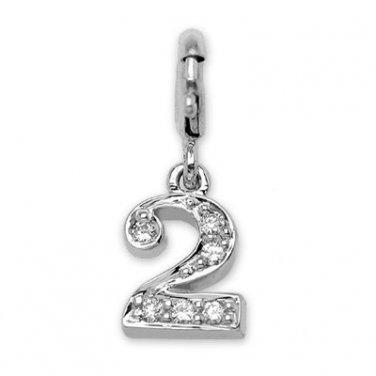 0.08cttw Diamond 18K White Gold Number 2 W/925 Silver Chain Birthday Gift S02760Q