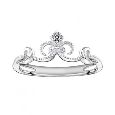18K White Gold 0.05cttw Diamond Mermaid Milgrain Crown Princess Bridal Wedding Ring S07371R