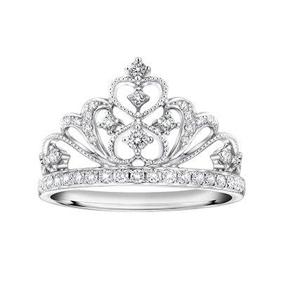 0.31cttw Diamond Crown of Queen Heart Milgrain Princess Wedding Engagement Ring S07880R