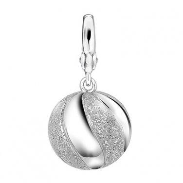Platinum Plated 925 Sterling Silver Sandblasted Marble Ball Bracelet Charm Gift C05380J
