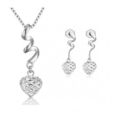 "14K White Gold Filigree Puffed Heart Necklace 16"" & Earrings Jewelry Set Women Gift C04493P_C05238E"