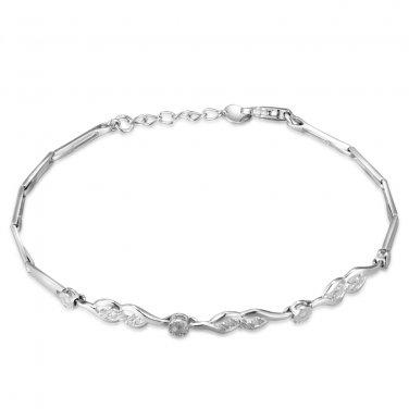 14K White Gold Diamond-Cut Infinity Segment Bracelet 6.5'' Gift B05552B