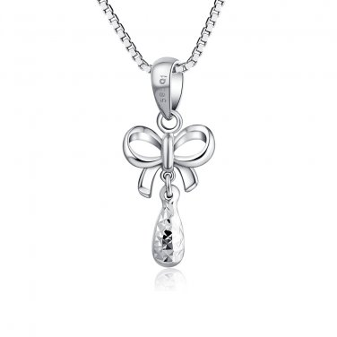 """14K White Gold Diamond-Cut Bow Butterfly Drop Necklace 16"""" Gift C04377P"""