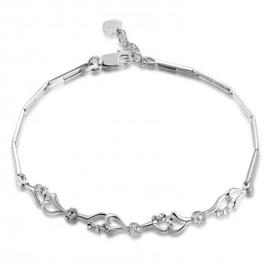 """14K Italian White Gold Connected Hearts With Diamond-Cut Bracelet (6.5"""") Jewelry in Gift Box B04952B"""