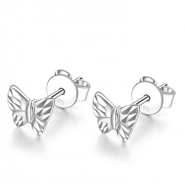 14K White Gold Tiny Diamond Cut Butterfly Stud Earrings, Women Girl Jewelry in Gift Box C06449E