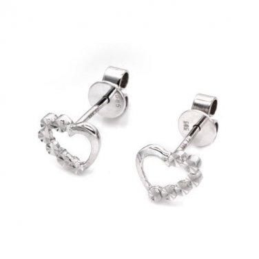 14K White Gold Polished and Cutting Heart Stud Earrings, Women Girl Jewelry C05814E
