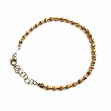 "14K Tri Color Gold Diamond Cut Bead Bracelet 6.5"" Gift B05510B"