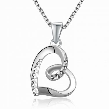 "14K White Gold Sideway Swiling Heart Necklace 16"" C05938P"