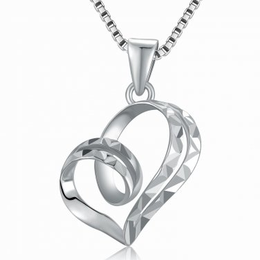 """14K White Gold Double Row Swirling Heart Diamond-Cut Necklace 16"""" C05939P"""