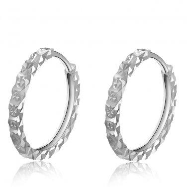 14K White Gold Diamond-Cut Hoop Earrings, Women Girl Jewelry A00999E