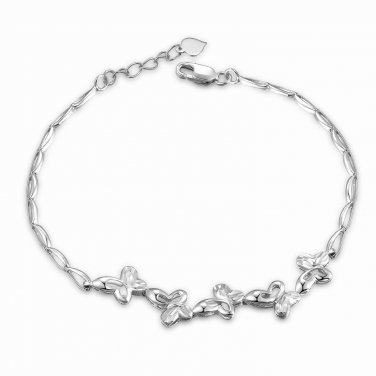 "14K White Gold Diamond-Cut Heart and Wave Bracelet (6.5"") C05985B"