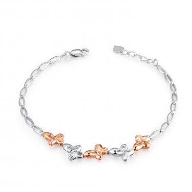"""14K Rose White Gold Diamond-Cut Five Butterfly Bracelet (6.5""""), Women Girl Jewelry C05985B"""