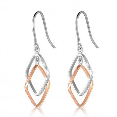 14K Rose White Gold Diamond-Cut Square Hook Earrings Fashion Jewelry Gift B05181E