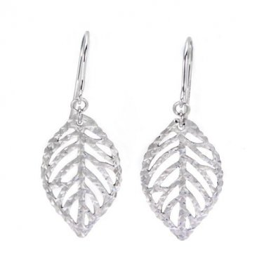 14K Italian White Gold Filigree Leaf Diamond-Cut Shepherd Hook Earrings, Women Girl Jewelry C05060E