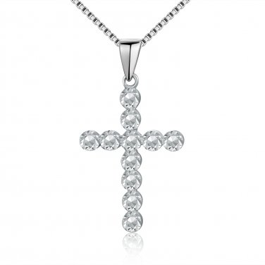 14K White Gold Cross Religious Diamond Cut Necklace 16'' Gift C04432P