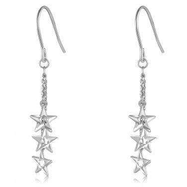14K Italian White Gold Triple Thin Cut-out Stars Hook Earrings, Women Girl Jewelry C05926E