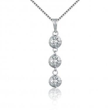"14K Italian White Gold Triple Diamond-Cut Puff Balls Necklace (16""), Women Jewelry C05400P"