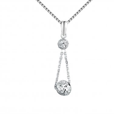 "14K Italian White Gold Double Diamond-Cut Link Puff Balls Necklace (16""), Women Jewelry C05449P"