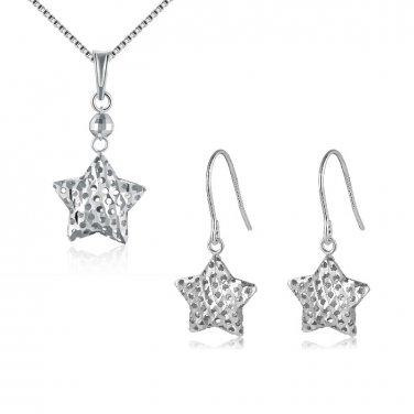 14K Gold Filigree Puff Star Necklace & Earrings, Women Jewelry Set C05401P_C05394E