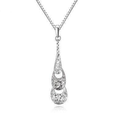 """14K White Gold Diamond Cut Triple Drop Necklace 16"""" B05669P"""