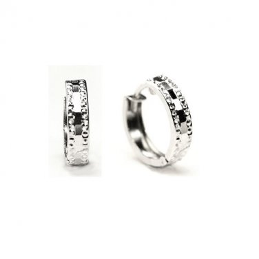 14K White Gold Diamond-Cut Huggie Hoop Earrings, Women Girl Jewelry A10154E