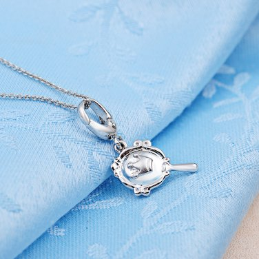 "Platinum Plated Hand Mirror 925 Sterling Silver w/ Charm 16"" Chain C05377J"