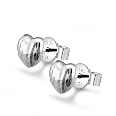 14K Italian White Gold Diamond-Cut Puff Heart Stud Earrings Birthday Gift C04249E