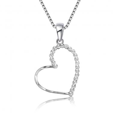 14K White Gold Diamond-Cut Heart Pendant Necklace 16'' Valentines C05937P
