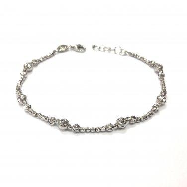 14K White Gold Diamond-Cut Beads Bracelet 6.5'' Jewelry Gift B05778B