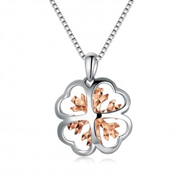 "14K Rose White Gold D-Cut Clover Women Necklace 16"", Fashion Jewelry Gift C04218P"