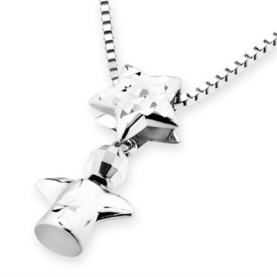 """14K White Gold Angel And Diamond Cut Star Necklace (16"""") C04541P"""
