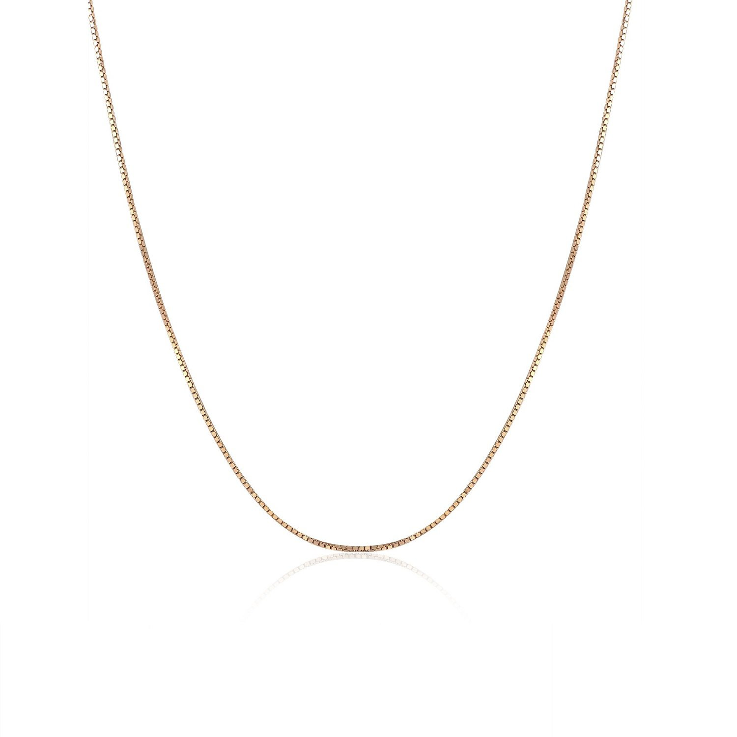 """18K Solid Rose Gold Classic Box Chain Necklace With Spring Ring Clasp, 16"""" A00881N_KR"""