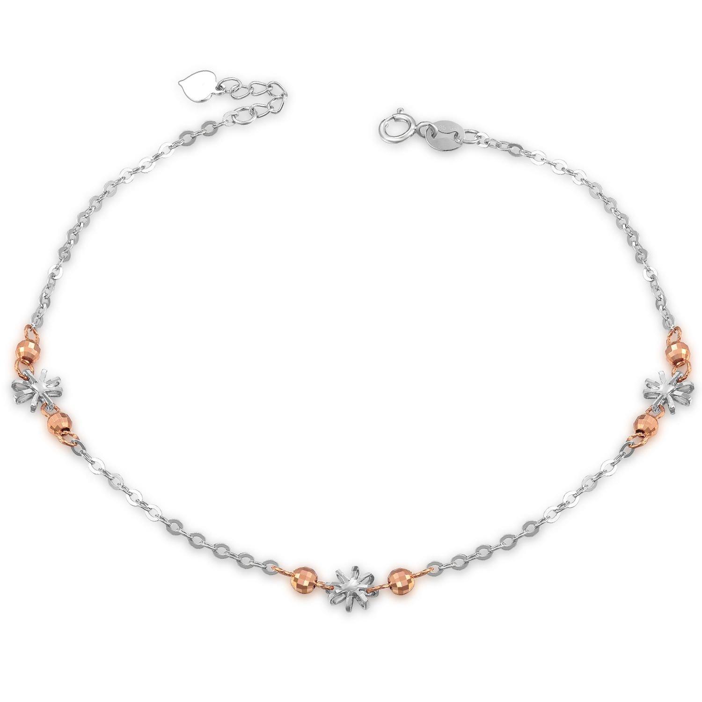 14K Rose White Gold Diamond-Cut Flower Stars Beads Anklet (23cm) C05712K