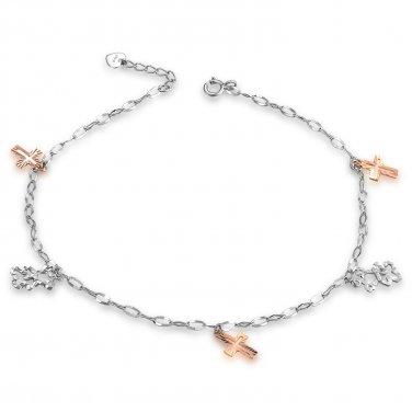 14K Rose White Gold Diamond-Cut Religious Cross Bear Anklet (23cm) C05619K