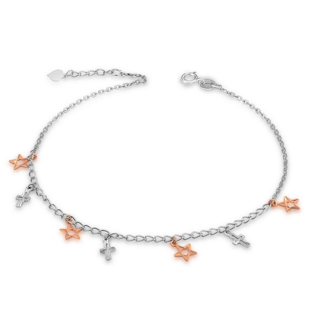 14K Rose White Gold Diamond-Cut Religious Cross Bear Anklet (23cm) C04959K
