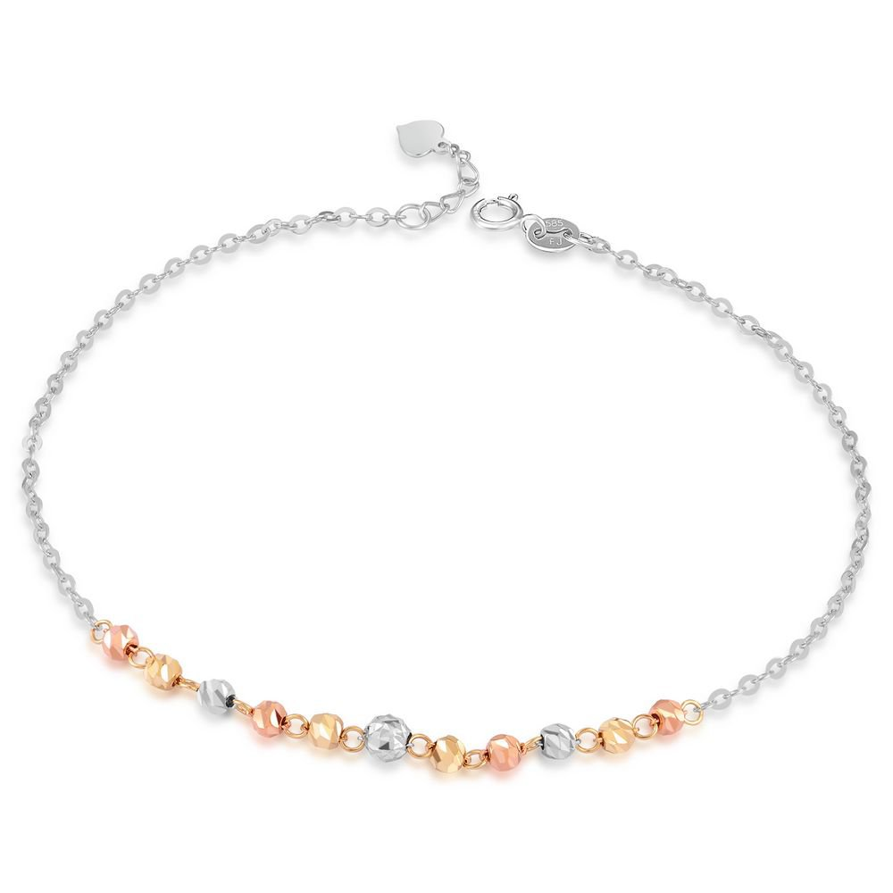 14K Tri-Color Gold Diamond-Cut Small Beads Anklet (23cm) B05856K
