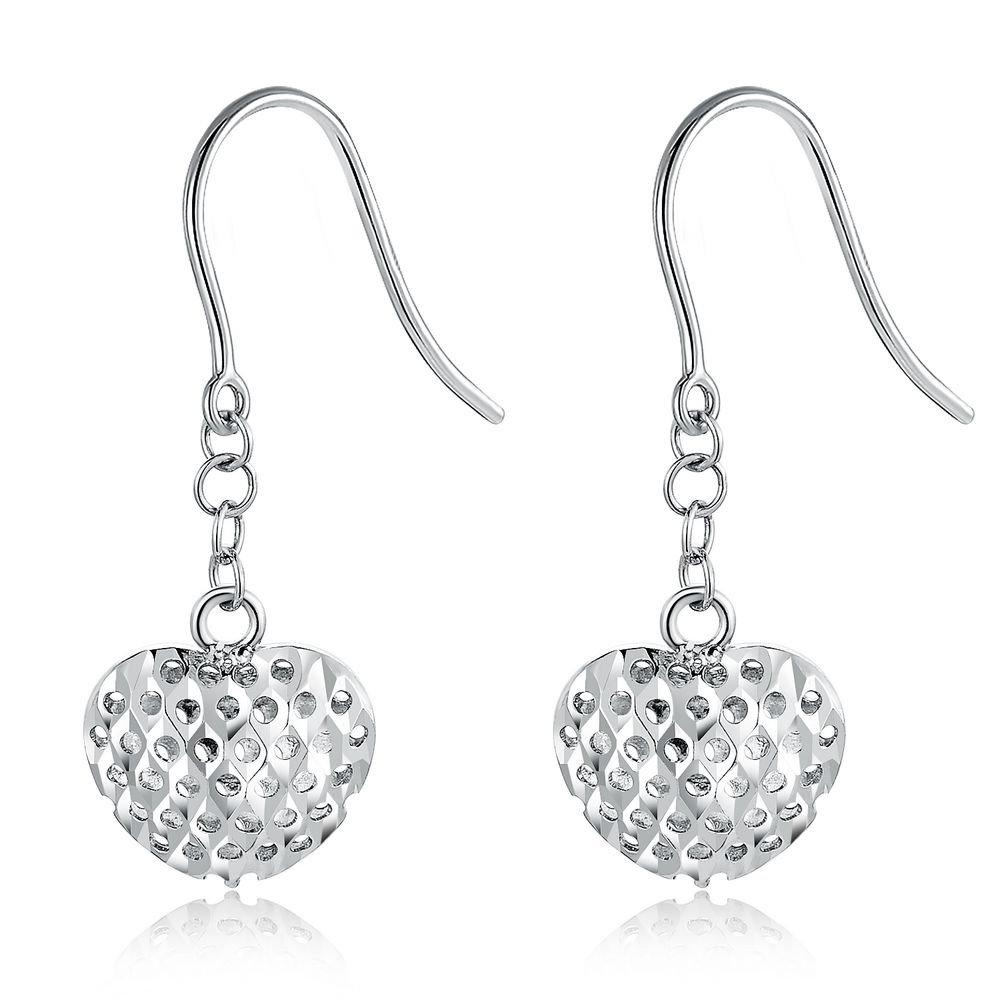 14K Italian White Gold Filigree Heart Hook Earrings Jewelry Gift C05927E