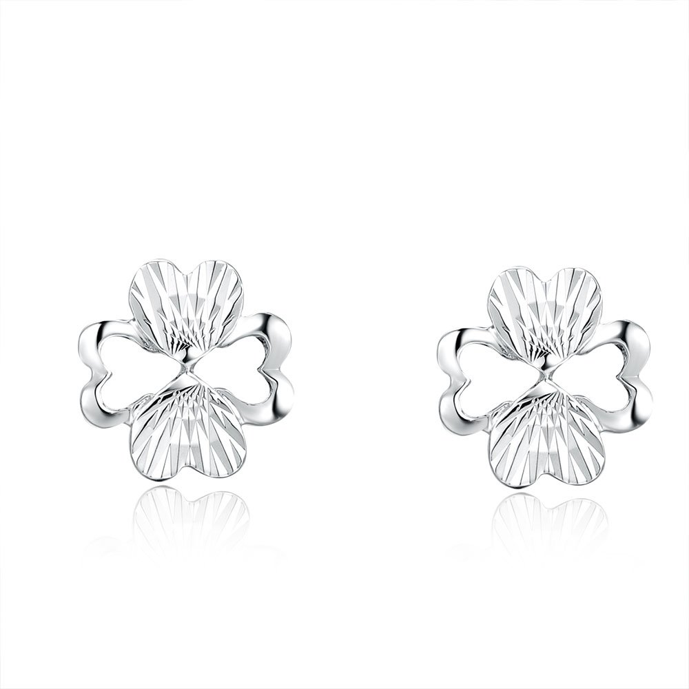 14ct White Gold Cut-out Heart Clover Stud Earrings C04816E