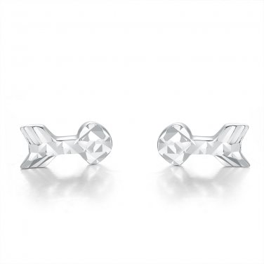 14ct White Gold Tiny Love Arrow Stud Earrings B06151E