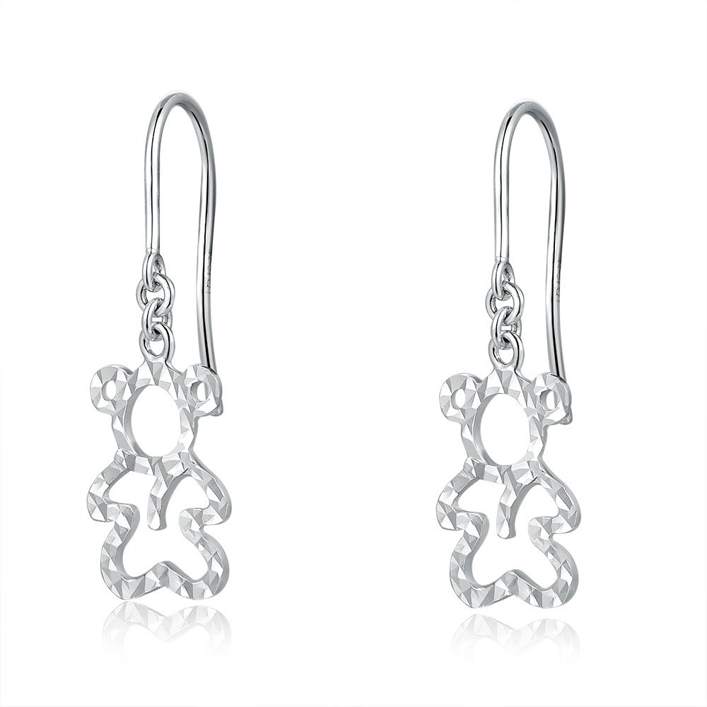 14ct Italian White Gold Cut-out Teddy Bear Dangle Earrings C04832E
