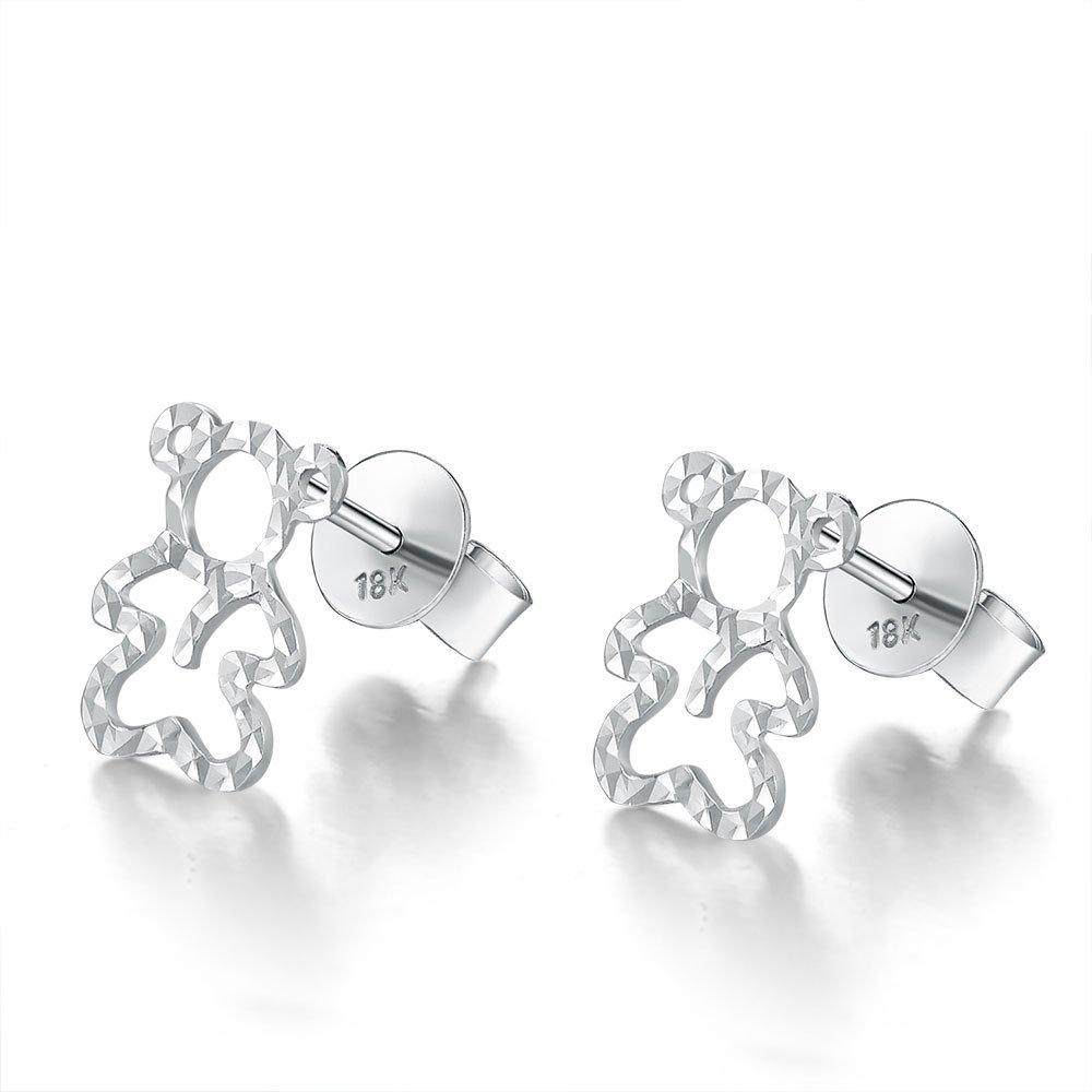 14ct Italian White Gold Cut-out Teddy Bear Stud Earrings C04699E