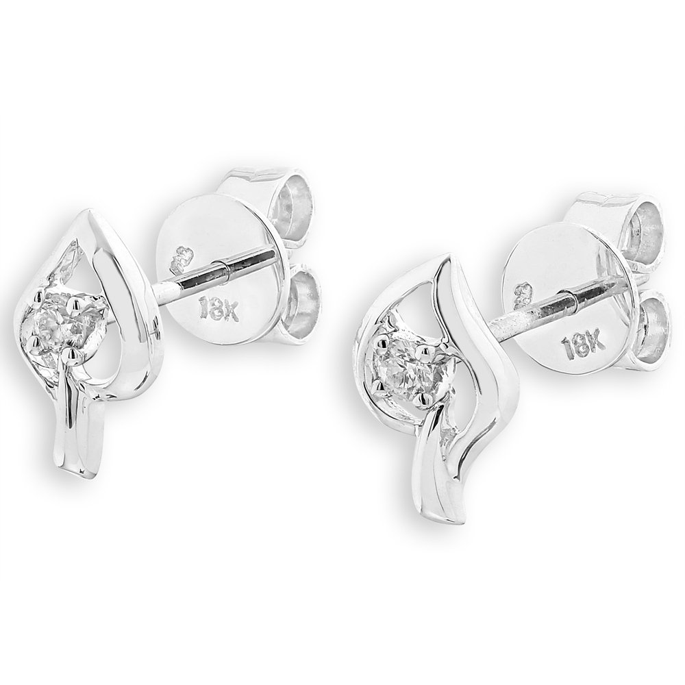 18K White Gold Diamond Tree Leaf (0.06cttw) Stud Earrings Jewelry F02661E