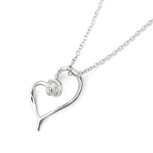 925 Sterling Silver Swirling Heart Necklace 16'' C06021N