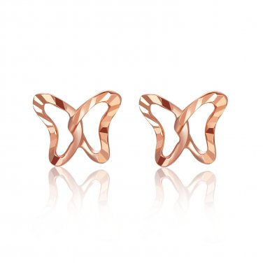 14K Rose Gold Hollow Butterfly Diamond Cutting Stud Earrings C06627E