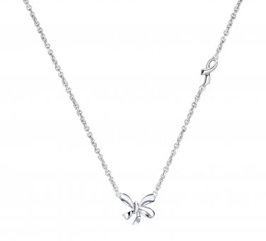 """925 Sterling Silver Love Bow Knot Diamond Solitaire Necklace 16"""" Women Jewelry Gift S08044N"""
