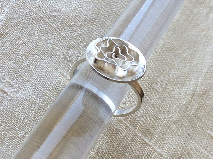Silver Rose Ring, artisan handmade all Sterling Silver by Camp Sundance