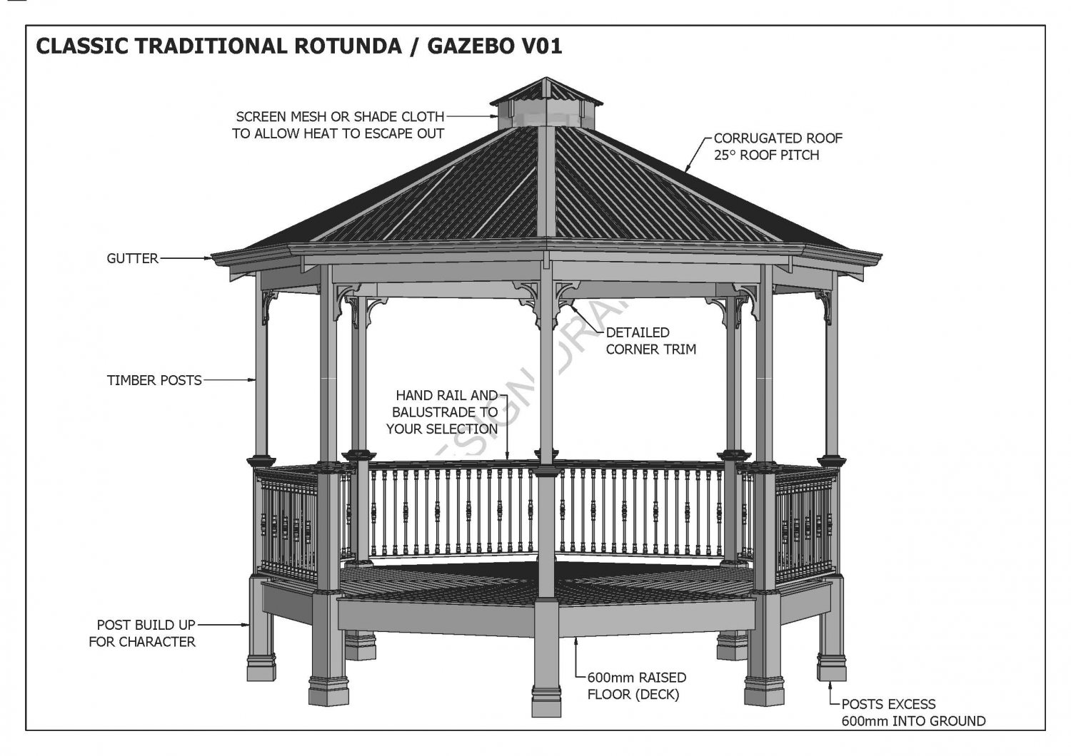 Octagon outdoor timber table chair unique design v1 for Home hardware gazebo plans