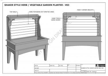 HERB OR VEGETABLE GARDEN PLANTER V03 - Build Your Own - Building Plans 2D & 3D