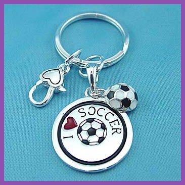 I Love Soccer Key Chain