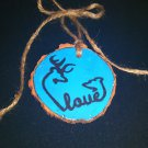 Buck & Doe Turquoise Rustic Wood Ornament (EC00)